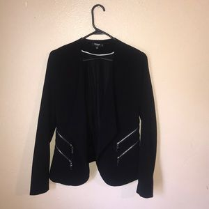 Open black blazer with faux zippers
